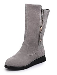 cheap -Women's Boots Wedge Heel Round Toe Sequin Faux Fur Mid-Calf Boots Casual Walking Shoes Fall & Winter Black / Gray
