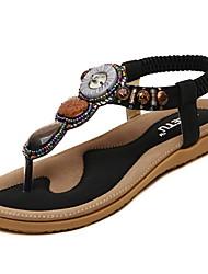 cheap -Women's Sandals Flat Heel Round Toe PU Summer Black / Almond / Red
