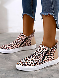 cheap -Women's Boots Flat Heel Round Toe PU Booties / Ankle Boots Spring & Summer Black / Leopard / Red