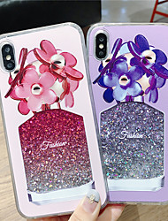 cheap -Case For Apple iPhone XS / iPhone XR / iPhone XS Max Flowing Liquid / Pattern / Glitter Shine Back Cover Flower TPU
