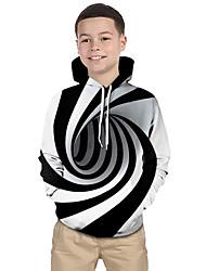 abordables -Enfants Bébé Garçon Actif Basique Noir & Blanc Créatures Fantastiques Rayé Géométrique 3D Imprimé Manches Longues Pull à capuche & Sweatshirt Blanche