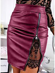 cheap -Women's Sexy PU Bodycon Skirts - Solid Colored / Patchwork Lace / Zipper Black Red Brown S M L