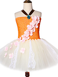 cheap -Princess Moana Birthday Party Up Lace Tulle Flowers Girl Clothes Halloween Cosplay Suit