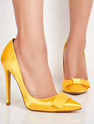 cheap -Women's Heels Stiletto Heel Pointed Toe Bowknot Satin Spring &  Fall Yellow