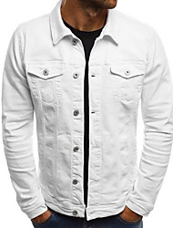 cheap -Men's Daily EU / US Size Regular Denim Jacket, Solid Colored Turndown Long Sleeve Polyester Black / White / Army Green