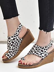 cheap -Women's Sandals Flat Heel Peep Toe PU Summer Black / Camel / Leopard