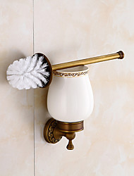 cheap -Toilet Brush Holder Set Creative Antique Brass and Carved Bathroom Toilet Brush Holder Wall Mounted