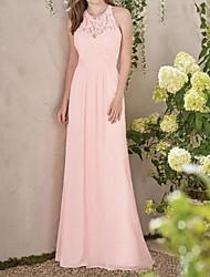 cheap -A-Line Jewel Neck Floor Length Chiffon / Lace Bridesmaid Dress with Appliques / Pleats