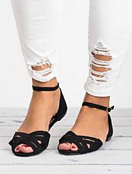 cheap -Women's Sandals Flat Heel Peep Toe PU Summer Black / Gray