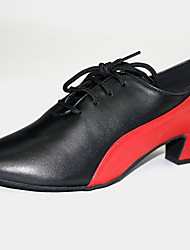 cheap -Women's Modern Shoes / Ballroom Shoes PU Lace-up Heel Thick Heel Customizable Dance Shoes Black / Red / Black / Orange / Black / Blue / Performance / Practice