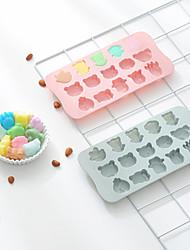 Недорогие -Милые 15 полостей животных мультфильм животных силиконовые формы инструменты для выпечки diy поднос со льдом шоколад 3d плесень торт