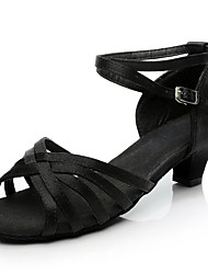 cheap -Women's Dance Shoes Satin Latin Shoes / Salsa Shoes Buckle Heel Thick Heel Customizable Black
