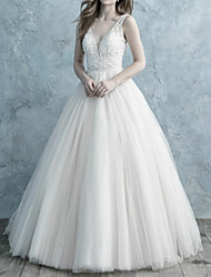 cheap -A-Line V Neck Sweep / Brush Train Lace / Tulle Spaghetti Strap Formal Backless Made-To-Measure Wedding Dresses with Lace 2020