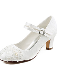 cheap -Women's Wedding Shoes Chunky Heel Round Toe Rhinestone / Pearl Satin Spring &  Fall / Summer Ivory / Party & Evening