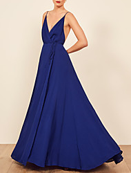 cheap -A-Line Spaghetti Strap Sweep / Brush Train Chiffon Open Back Formal Evening Dress 2020 with Split Front / Pleats