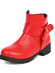 cheap -Women's Boots Chunky Heel Round Toe Bowknot PU Booties / Ankle Boots Sweet Fall & Winter Black / White / Red