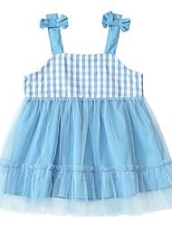 cheap -Kids Girls' Cute Plaid Patchwork Dress Blue