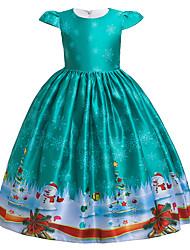 cheap -Kids Little Girls' Dress Santa Claus Snowman Cartoon Snowflake Christmas Print Green Maxi Short Sleeve Cute Dresses Christmas Slim