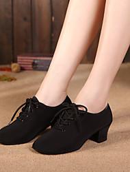 cheap -Men's / Women's Dance Shoes Canvas Jazz Shoes Paillette Heel Cuban Heel Black
