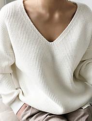 Недорогие -Жен. Однотонный Длинный рукав Пуловер Свитер джемпер, V-образный вырез Черный / Белый / Синий Один размер