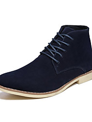 cheap -Men's Suede Shoes Suede Fall Casual Boots Wear Proof Booties / Ankle Boots Black / Brown / Dark Blue / Rivet / Combat Boots