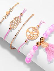 cheap -5pcs Women's Pink Bead Bracelet Vintage Bracelet Earrings / Bracelet Layered Heart Pineapple Weave Vintage Ethnic Fashion Cute Colorful Cord Bracelet Jewelry Gold For Daily / Pendant Bracelet