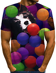 cheap -Men's Daily Holiday Vintage / Rock EU / US Size T-shirt - Color Block / 3D / Animal Dog, Print Round Neck Rainbow / Short Sleeve