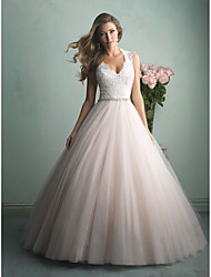 cheap -A-Line V Neck Sweep / Brush Train Tulle Regular Straps Beautiful Back Made-To-Measure Wedding Dresses with Beading / Lace Insert 2020