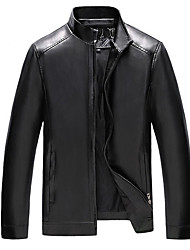 cheap -Men's Daily Regular Leather Jacket, Solid Colored Stand Long Sleeve PU Black / Brown