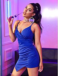 cheap -Women's Sheath Dress - Solid Colored Blue S M L XL