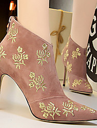 cheap -Women's Boots Stiletto Heel Pointed Toe Satin Flower Suede Booties / Ankle Boots Chinoiserie / Minimalism Spring &  Fall / Fall & Winter Black / Pink / Gray / Party & Evening
