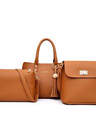 cheap -Women's PU Leather Bag Set Bag Sets Letter 3 Pcs Purse Set Wine / Black / Red / Fall & Winter