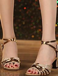 cheap -Women's Latin Shoes Heel Cuban Heel Gold