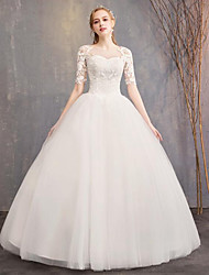 cheap -A-Line / Ball Gown Scoop Neck Floor Length Polyester / Lace / Tulle Half Sleeve Romantic Backless Made-To-Measure Wedding Dresses with Appliques / Lace 2020