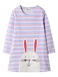 cheap -Kids Girls' Cute Striped Cartoon Long Sleeve Dress Purple