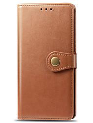 Недорогие -Кейс для Назначение Motorola Moto G7 Play / Moto G7 Power Бумажник для карт / Магнитный / Авто Режим сна / Пробуждение Чехол Однотонный Кожа PU / ПК