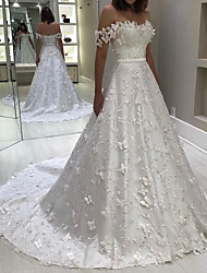 cheap -A-Line Off Shoulder Court Train Lace Short Sleeve Formal Illusion Detail Wedding Dresses with Appliques 2020
