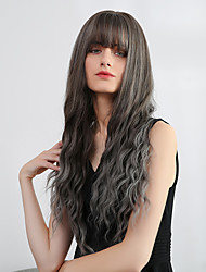 cheap -Bangs Weave Ombre Curly Natural Wave Avril Neat Bang Wig Ombre Medium Length Green Synthetic Hair 28 inch Women's Synthetic Sexy Lady Color Gradient Dark Gray Ombre EMMOR / African American Wig
