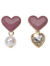 cheap -Women's Earrings Classic Sweet Heart Heart Artistic Sweet Fashion Cute Elegant Imitation Pearl Resin Earrings Jewelry Dark Fuchsia For Wedding Party Graduation Engagement Festival 1 Pair