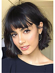cheap -Human Hair Capless Wigs Human Hair Curly / Natural Straight Pixie Cut / Layered Haircut / Asymmetrical / Side Part Style Fashionable Design / Adorable / Comfortable Black Medium Length Capless Wig