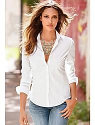cheap -Women's Solid Colored Shirt Daily Shirt Collar White / Black / Blushing Pink / Fuchsia / Navy Blue