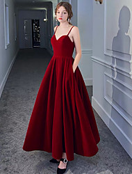 cheap -A-Line Spaghetti Strap Ankle Length Satin / Velvet Red Party Wear / Formal Evening Dress with Pleats 2020