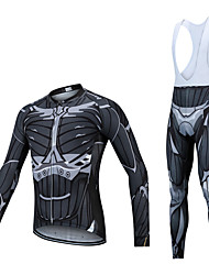 cheap -CAWANFLY Men's Long Sleeve Cycling Jersey with Bib Tights Winter Fleece Lycra Black Bike Clothing Suit UV Resistant Quick Dry Sports Oil Painting Mountain Bike MTB Road Bike Cycling Clothing Apparel