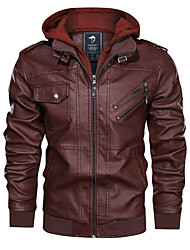 cheap -Men's Daily Regular Leather Jacket, Solid Colored Hooded Long Sleeve Polyester Black / Brown / Gray