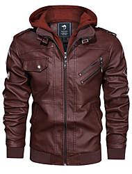 abordables -Homme Quotidien Normal Veste de cuir, Couleur Pleine Capuche Manches Longues Polyester Noir / Marron / Gris