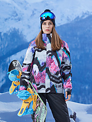 cheap -GSOU SNOW Women's Ski Jacket Skiing Snowboarding Winter Sports Thermal / Warm Waterproof Windproof POLY Imitation Silk Winter Jacket Ski Wear