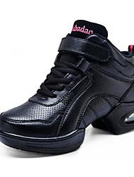 cheap -Women's Dance Shoes Leather Dance Sneakers Sneaker Thick Heel Customizable Black