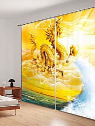 cheap -Flying Dragon in The Sky Digital Printing 3D Curtain Shading Curtain High Precision Black Silk Fabric High Quality Curtain