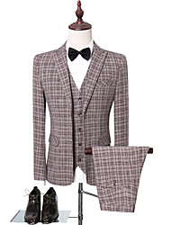 cheap -Chocolate Checkered Slim Fit Polyester Suit - Peak Single Breasted Two-buttons