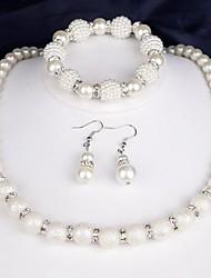 cheap -Women's Necklace Earrings Bracelet Fashion Imitation Pearl Imitation Diamond Earrings Jewelry White For Daily Festival 1 set
